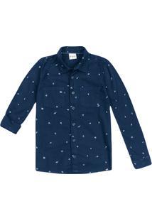 Camisa Menino Manga Longa Com Bolso Estampada