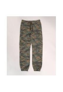 Calça De Sarja Juvenil Jogger Cargo Estampado Camuflado Verde Militar