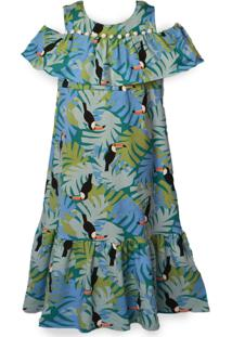 Vestido Longo Mini Cherie Toucan Estampado