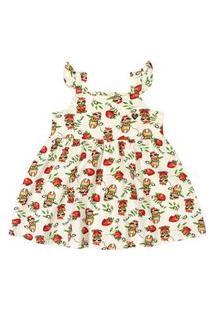 Vestido Infantil Estampado Tricknick Bege