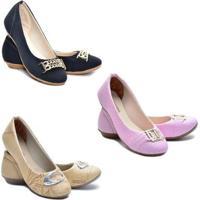 b6a69300079 Kit Sapatilhas Ded Calçados Bico Redondo Feminina - Feminino-Preto+Rosa