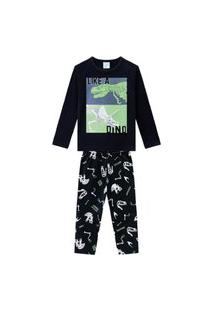 Pijama Infantil Kyly Dinossauro Preto
