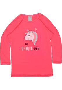 Camiseta Hering Kids Menina Unicórnio Rosa