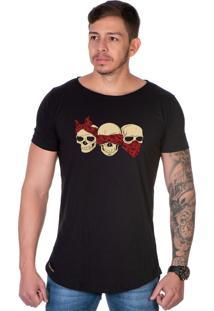 Camiseta Lucas Lunny Oversized Longline Tres Caveiras Preta