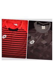 Kit De 2 Camisas Lotto Colors Preta E Vermelha