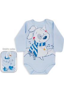 Body Bebê Dedeka Suedine Dog Bebê Masculino - Masculino-Azul