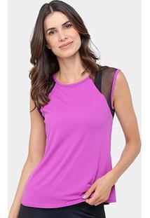 Camiseta Fila Crochet Feminino - Feminino-Violeta+Preto