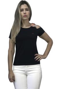 Camiseta Hifen Com Abertura No Ombro Preto - Kanui