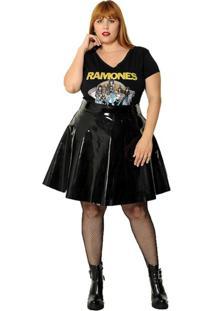 Camiseta Vintage And Cats Plus Size Ramones Preta