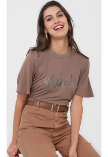 Camiseta Dzarm Glitter Marrom