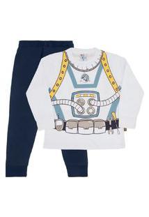 Conjunto Pijama Branco - Infantil - Menino 4 45162-3 Conjunto Pijama Branco - Infantil Menino Meia Malha Ref:45162-3-8