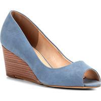 8872c435e Peep Toe Couro Shoestock Anabela Básico Fachete - Feminino-Azul