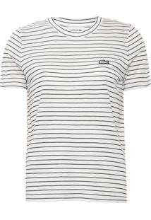 Camiseta Lacoste Listrada Off-White - Off White - Feminino - Viscose - Dafiti