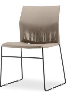 Cadeira Connect Assento Bege Base Fixa Preta - 53761 - Sun House