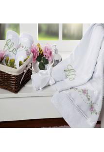 Jogo De Banho Bordado Bouquet Branco 5 Peças Casaborda