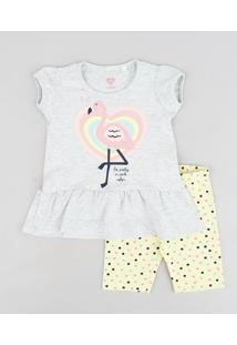 Conjunto Infantil De Blusa Flamingo Manga Curta Cinza Mescla Claro + Bermuda Estampada De Poás Amarela