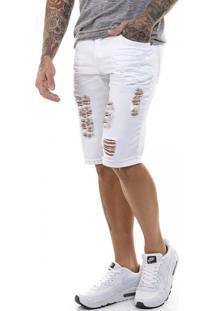 Bermuda Offert Jeans Premium Destroyed Slim Fit Branca