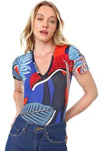 Camiseta Forum Canelada Folhagem Azul/Laranja