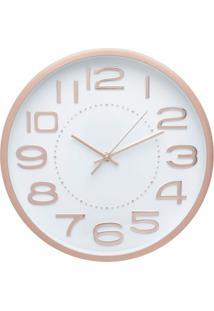 Relógio Lady Branco E Dourado 30,5X30,5X4,2 Cm