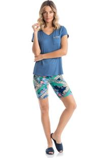 Pijama Agua Marinha C/ Bermuda - P517 Verde/Gg