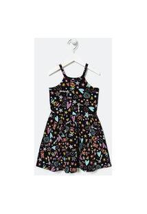 Vestido Infantil Em Cotton Fit Cava Americana Estampa Doodles - Tam 5 A 14 Anos | Fuzarka (5 A 14 Anos) | Preto | 9-10