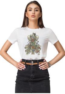 Camiseta Basica Joss Caveira Floral Branca - Kanui
