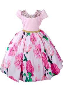 Vestido De Festa Giovanella Infantil Rosa Floral Com Renda - Tricae