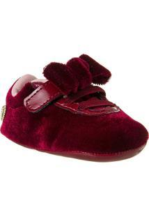 Sapatinho Infantil Recém-Nascido Veludo Feminino - Feminino-Vermelho