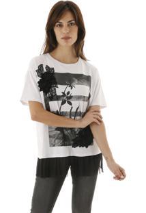 Camiseta Lisa De Malha Com Silk De Flores E Babadinho De Tule Aha - Branco - Feminino - Dafiti
