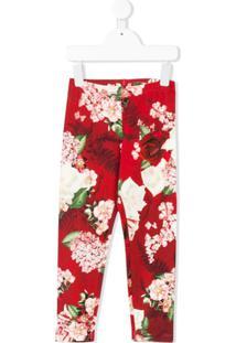 Monnalisa Calça Legging Com Estampa Floral - Vermelho