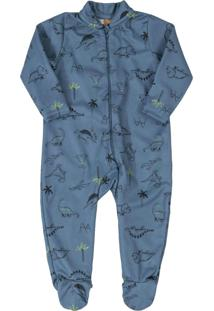 Macacão Dino Pijama Bebê Azul