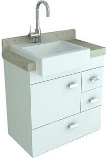 Gabinete Com Pia Para Banheiro Travertino Branco