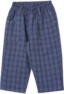 Calça Look Jeans C/ Elástico Xadrez Azul