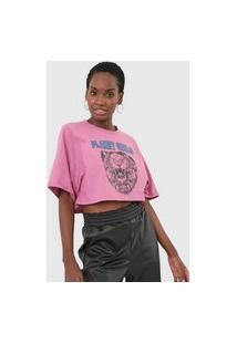 Camiseta Cropped Planet Girls Leão Rosa