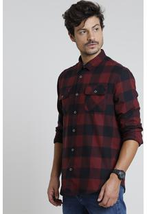 Camisa Masculina Tradicional Em Flanela Estampada Xadrez Com Bolsos Manga Longa Vermelho