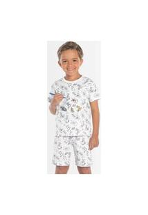 Pijama Infantil Rovitex Bermuda E Camiseta Sonhando Colorido Branco