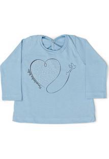 Camiseta Manga Longa Pimentinha Kids Coração Azul