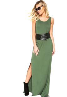 Vestido Mob Longo Fendas Verde