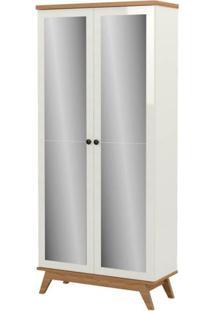 Sapateira Campbell 2 Portas Espelhadas Cor Off White Com Freijo - 60867 - Sun House
