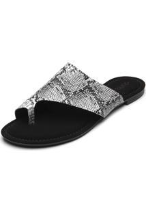 Rasteira Dafiti Shoes Cobra Branca/Preto