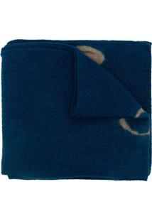 Suzusan Cachecol De Cashmere Com Padronagem - Azul