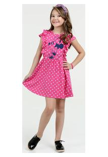 0d0431116 Vestido Infantil Estampa Minnie Manga Curta Disney