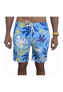 Bermuda Short Tactel E Elastano Opice Moda Praia Estampado Azul