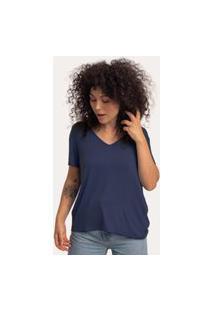 Camiseta Decote V Ampla Viscolinho Marinho