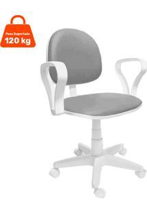 Cadeira De Escritório Secretária Mazikeen Ajustável Cinza E Branca