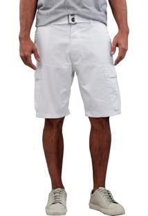 Bermuda Masculina Sarja Cargo Branco - Branco - Masculino - Dafiti