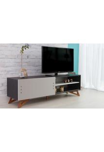 Rack Para Tv Preto Moderno Vintage Retrô Com Porta De Correr Cinza Freddie - 160X43,6X48,5 Cm