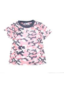 Camiseta For Princess Estampada Militar Rosa