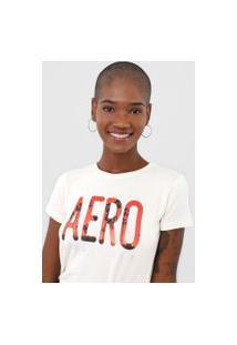Camiseta Aeropostale Lettering Off-White