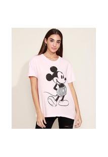 Camiseta Feminina Mickey Com Paetê Manga Curta Decote Redondo Rosa Claro